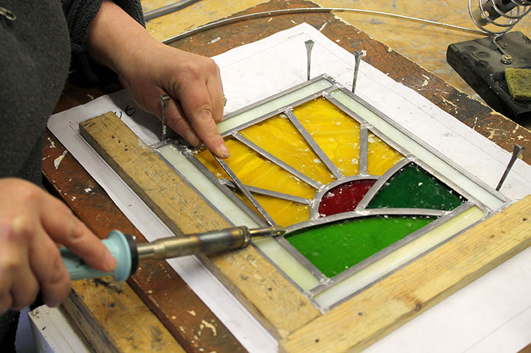 Soldering - Stained Glass workshop - Llandysul